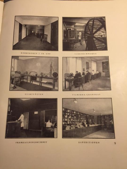 En rundtur i Skandinavisk Filmcentrals lokaler. Ur Lars Björck, Skandinavisk filmcentral 1917-1919: En översikt av de gångna årens verksamhet samt planer och riktlinjer för framtiden (Stockholm: Lagerström, 1919)