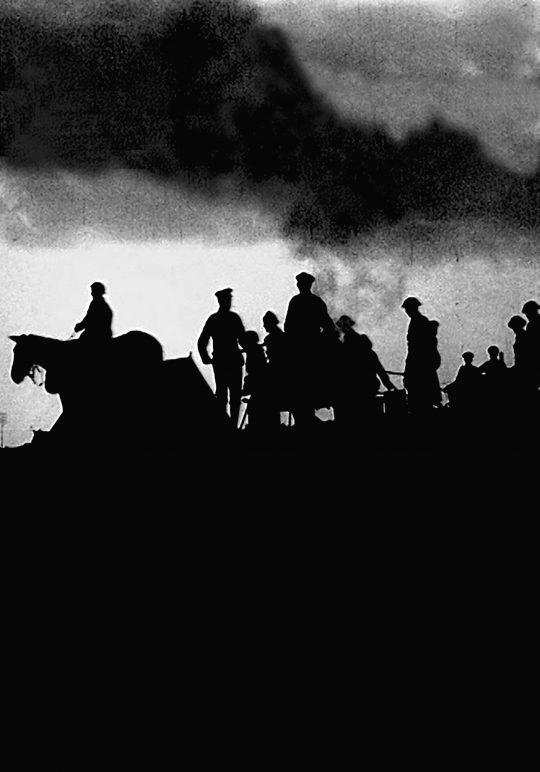 Slutscenen i Slaget vid Ancre eller Englands 'landkryssare' i verksamhet (Storbritannien, 1917).