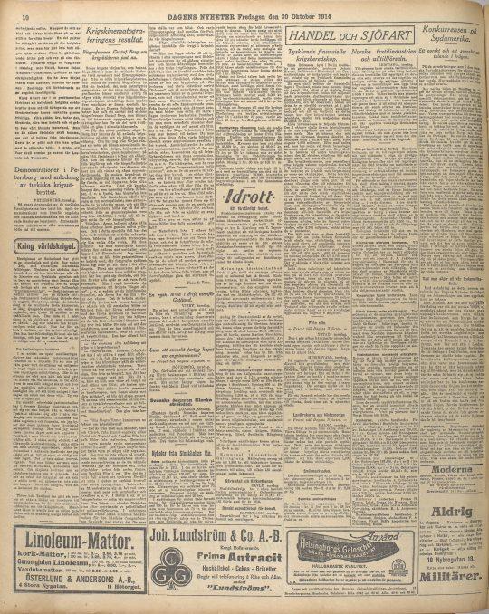 """Peau de Veau [sign.], """"Krigskinematograferingens resultat. Biografcensor Gustaf Berg om krigsbilderna just nu"""", Dagens Nyheter 30/10 1914."""