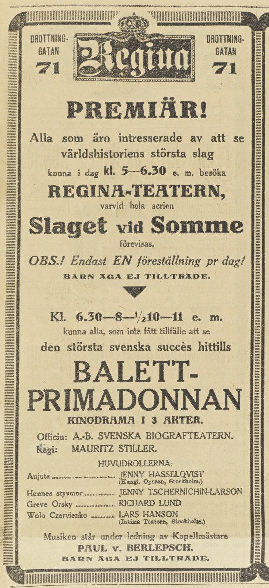 Dagens Nyheter, 27/11 1916.